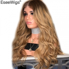 Blonde Ombre Human Hair Lace Front Wigs For Black Women Remy 4/27 Dark Roots 2 Tone Loose Wave Human Hair Lace Wig Baby Eseewigs