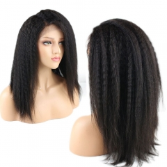 Eseewigs Kinky Straight Hair 360 Lace Frontal Wig Pre Plucked with Baby Hair Lace Front Brazilian Remy Human Hair Wigs for Women