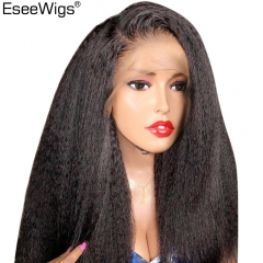 Italian Yaki Straight Full Lace Front Human Hair Wigs For Black Women Baby Hair Brazilian Remy Hair Wigs 150 Density Eseewigs