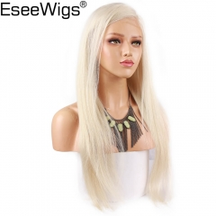 Eseewigs Platinm Blonde Wig Human Hair Silky Straight Brazilian Remy Full Lace Wig Pre Plucked With Baby Hair #60 For Women
