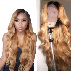 Long Honey Blonde Brazilian Remy Loose Wave Full Human Hair Wigs Ombre 1b 27 Lace Front Wig With Black Dark Roots