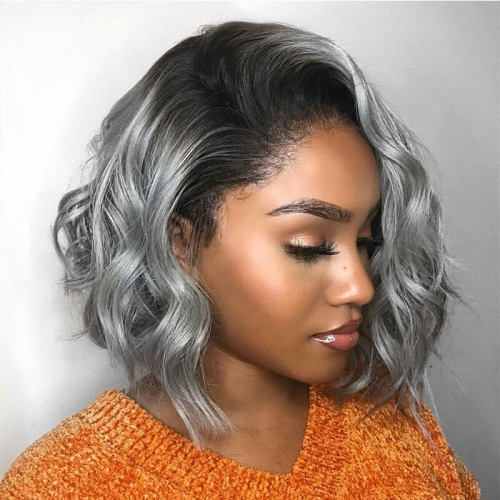 Celebrity Style Wavy Ombre Gray Bob Lace Front Wig Loose Wave Human Hair Natural Looking
