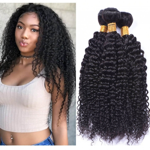 Kinky Curly Hair Bundles Remy Human Hair Extensions Nature Color Weft Kinky Curly Weave 3Pcs
