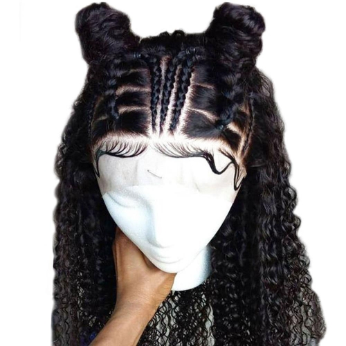 Kinky Curly Glueless Full Lace Wigs Human Hair Brazilian Remy Hair Part Anywhere Thick Ends with Baby Hair