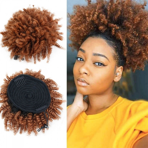 Afro Kinky Curly #1bT30 Ombre Human Hair Clip In Ponytail with Dark Roots 100g for Black Women Clip In Drawstring Ponytails