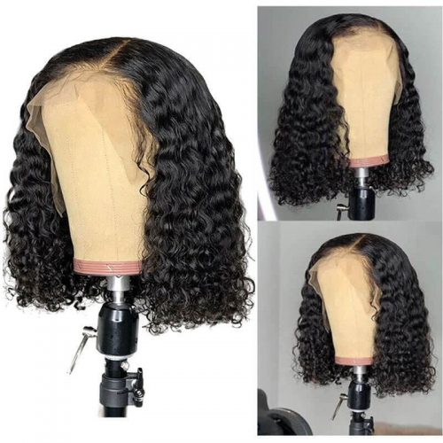 Pre-Made Fake Scalp Lace Front Human Hair Wigs With Pre Plucked Baby Hair Brazilian Kinky Curly Glueless Full Lace Wigs