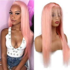 Pink Color Front Lace Wigs Remy Human Hair Pre-Plucked Hairline Silky Straight Hair with Baby Hair Ombre Pink Glueless Full Wigs