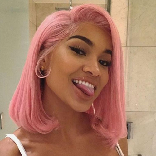 Cute Powder Light Pink Bob Lace Front Wig Short Best Real Human Hair Online For Sale