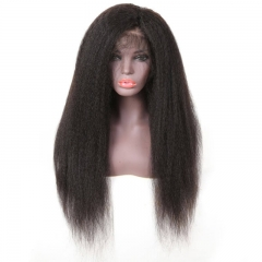 High Quality Lace Frontal Kinky Straight Pre Plucked Hair 150% Density Wigs Soft