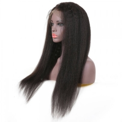 High Quality Lace Frontal Kinky Straight Pre Plucked With Baby Hair 13*4 Remy Human Hair 130% Density Wigs Soft