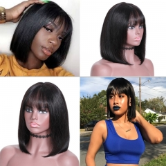 New Straight Bob Wig with Bang Lace Front 150% Density Wig 100% Human Hair