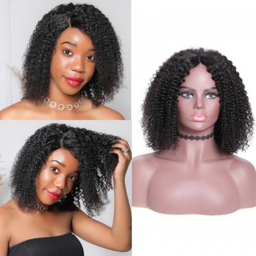 Kinky Curly 150% Short Bob Wig Lace Frontal Density Wig 100% Human Hair Super Soft