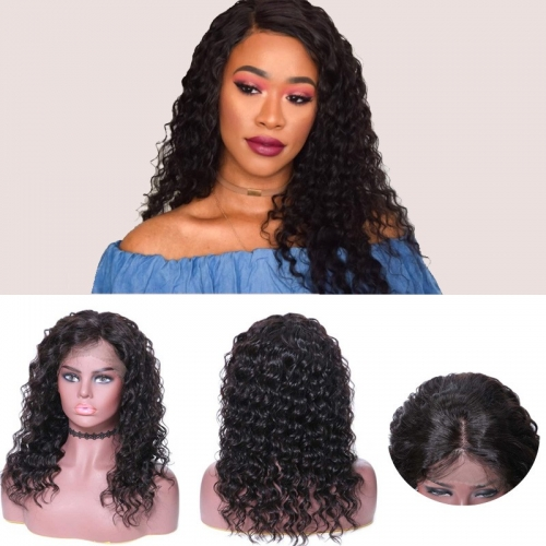 Virgin Human Hair Wigs Online Sale Lace Front Deep Wave 150% Density Wigs
