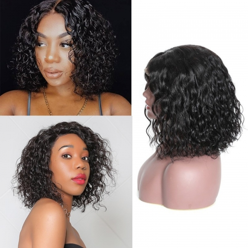 High Quality Water Wave 150% Density Wig Short Bob Wig Lace Front Wig Human Hair