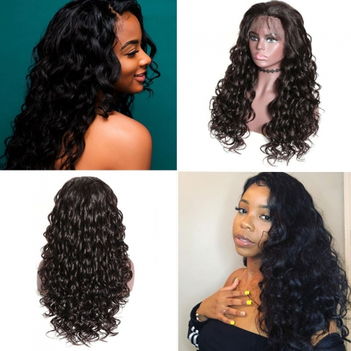 Mix Curly Wig Lace Front Human Hair Pre Pluck Wigs With Baby Hair 150% Density Long Wigs