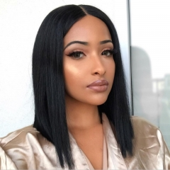 Straight Short Bob Wig Lace Frontal 150% Density Wig Pre Plucked 100% Human Hair Super Soft