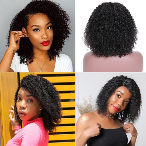 Kinky Curly 180% Short Bob Wig Lace Frontal Density Wig 100% Human Hair High Quality Super Soft