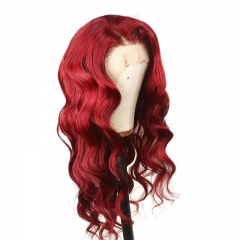 Red Lace Front Human Hair Wigs Pre Plucked Hairline Brazilian Body Wave For Women Remy Hair Colored Wigs 130%