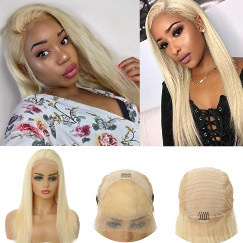 100% Human Hair Lace Front Wigs 613 Color 130% Density Straight Wigs