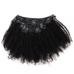 Afro Kinky Curly Clip In Hair Extensions 4B 4C Brazilian Remy Human Hair 7pcs/Set Full Head 120g Natural Black Hair Extension