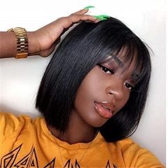 Best Short Bob Haircuts With Bangs Style Brazilian Hair Straight Wig 130% 150% 180% Density Fashionable Design Soft Women Easy Dressing Sexy Lady