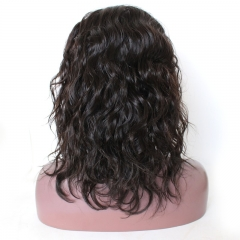 Full Lace Wig Bob Layered Haircut Partie centrale style Cheveux brésiliens Naturel Perruque Vague Densité 130% avec des cheveux Bébé Cheveux Naturel P