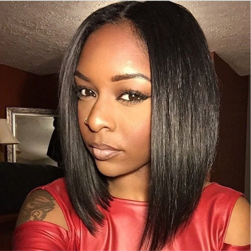 African Americ lace Front Wig Bob Layered Haircut Middle Part Kardashian style Brazilian Hair Straight Wig 130% Density with Baby Hair Natural Hairlin