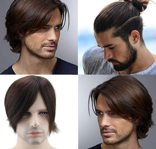 #3 Brown Color Wigs For Men 100% Human Hairpiece Swiss Mono Lace with PU Around Medium Density Toupee