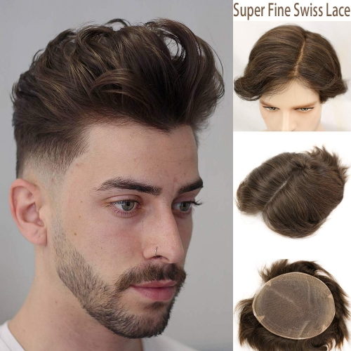 French Lace 100%Human Hair European Real Hair Thin Skin 8X10 Toupee For Men #4 Brown Color