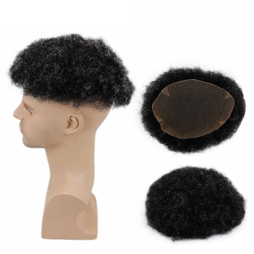 French Lace 8X 10 Afro Curly Brazilian Human Hair Replacement Hairpiece 1B Off Black Color Mixed 10% Grey Hair Toupee For Men