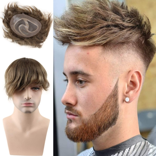 8X10 #18 Light Brown Color Human Hair Swiss Lace Toupee With Soft Skin Mono PU For Men