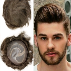 Human Hair Best Mono 8X10 With PU Hair Replacement With Soft Skin #7 Color Swiss Lace Toupee For Men