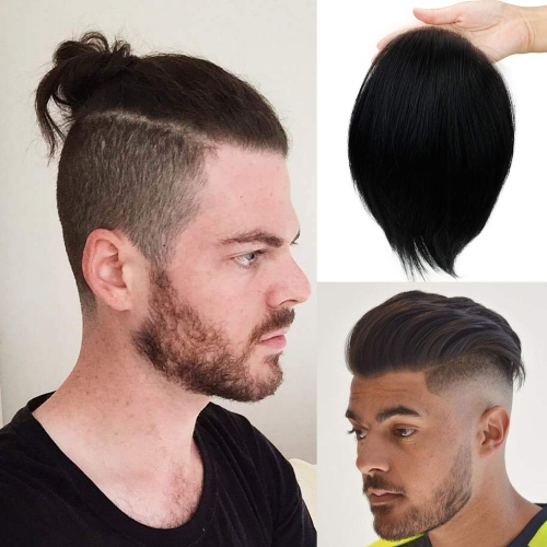 Human Virgin Hair Replacement Mono Lace With PU Soft Skin #1B Black Hair Toupee For Men