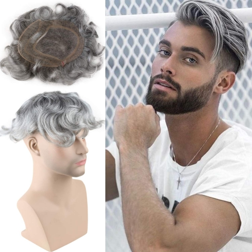 French Lace  20% 1B Black Color Mixed 80% Grey Hair Replacement  Hairpiece For Men 8X10inch Mono Lace With PU Toupee