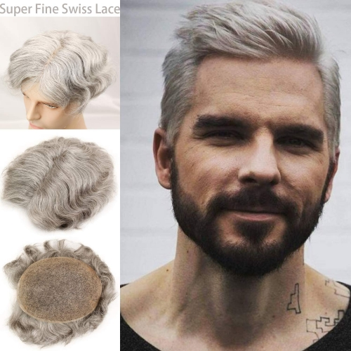 Grey Hairpiece 20% Black Human Hair 80% Grey French Lace FreeStyle 8X10 Toupee For Men