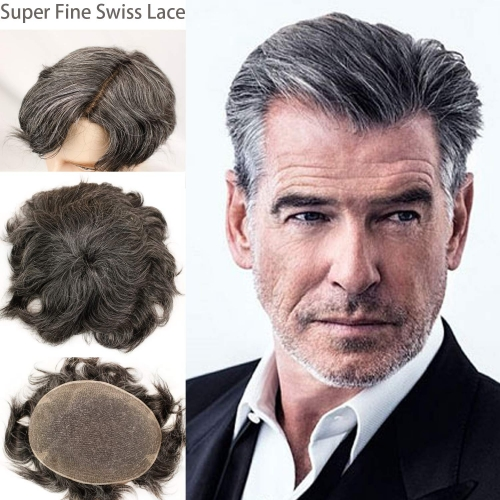 French Lace 80% black Human Hair 20% Grey FreeStyle With Soft Lace 8X10 Toupee For Men
