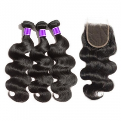 【 Deluxe 8A 】3 Bundles Brazilian Virgin Hair 8A Body Wavy With 4*4  Free Part Closure Body Wavy