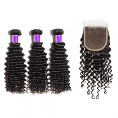 【 Deluxe 8A 】3 Bundles Brazilian Virgin Hair 8A Deep Curly With 4*4  Free Part Closure Deep Curly
