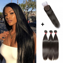 【 Standard 7A】3 Bundles Straight 7A Virgin Malaysian Hair With 4*4 Straight Free Part Closure