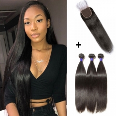 【 Standard 7A】3 Bundles Straight 7A Virgin Peruvian Hair With 4*4 Straight Free Part Closure