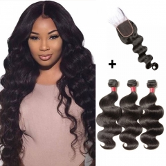 【 Standard 7A】3 Bundles Body Wavy 7A Virgin Malaysian Hair With 4*4 Body Wavy Free Part Closure