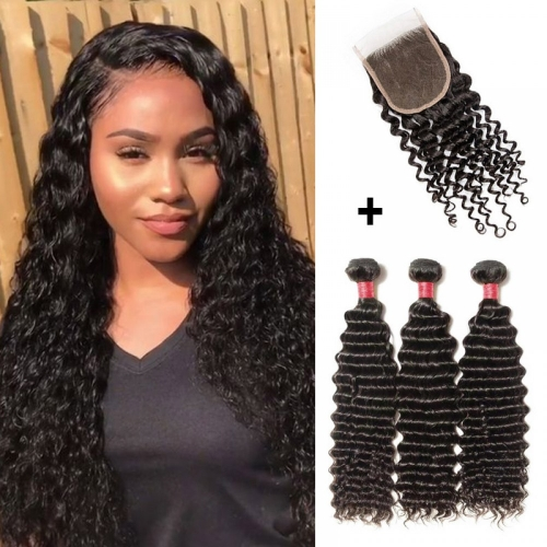 【 Buy 3 Get a Free CLosure 】3 Bundles Deep Curly 8A Virgin Malaysian Hair With 4*4 Deep Curly Free Part Closure