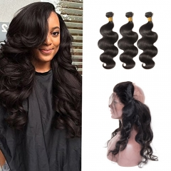 【 Standard 7A】360 Lace Frontal Closure With 3 Bundles Body Wavy 7A Virgin Brazilian Hair