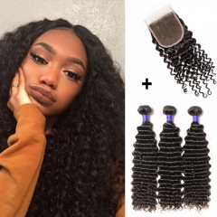 【 Standard 7A】3 Bundles Deep Curly 7A Virgin Peruvian Hair With 4*4 Deep Curly Free Part Closure