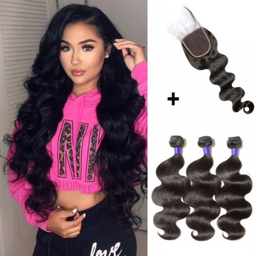 【 Standard 7A】3 Bundles Body Wavy 7A Virgin Peruvian Hair With 4*4 Body Wavy Free Part Closure