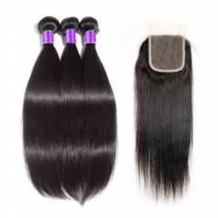【 Deluxe 8A 】3 Bundles Brazilian Virgin Hair 8A Straight With 4*4  Free Part Closure Straight