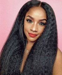 Kinky Straight 370 Lace Frontal Wig Brazilian Human Virgin Hair Wigs Pre Plucked With Baby Hair