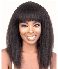 Kinky Straight 370 Lace Frontal Wig With Bang Brazilian Human Virgin Hair Wigs Pre Plucked With Baby Hair