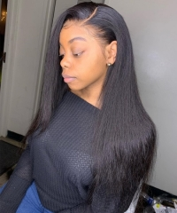 Silk Straight 370 Lace Frontal Wig Brazilian Human Virgin Hair Wigs Pre Plucked With Baby Hair