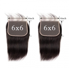 Natural Color Silk Straight 6x6 Lace Closure Free Part 100% Brazilian Hair-Made For Women